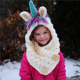 Creative Unicorn Shape Warm Kids Acrylic Fiber Cape Hat