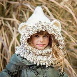 Creative Bear Shape Warm Kids Acrylic Fiber Cape Hat