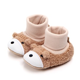Coffee Bear Pattern Baby Warm Cotton Anti-Slip First Walkers Shoes