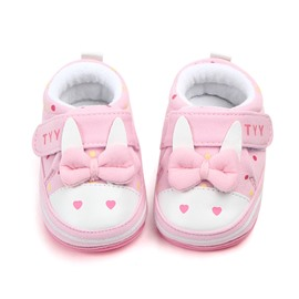 Pink Rabbit Pattern Baby Warm Cotton Anti-Slip First Walkers Shoes