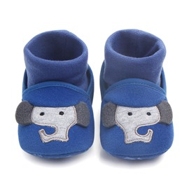 Blue Elephant Pattern Infant Unisex Baby Warm Cotton Anti-Slip First Walkers Shoes