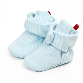 Pink/Blue Stripe Infant Unisex Baby Warm Cotton Anti-Slip First Walkers Shoes