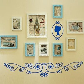 Fantastic Wall Photo Frame Set with Blue Wall Stickers