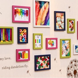 Amazing 13-Piece Wall Photo Frame Set with Wall Stickers