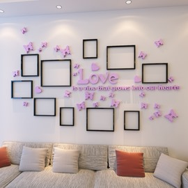 3D Love Letters Butterflies 10 Photo Frame Acrylic Waterproof Sturdy Eco-friendly Wall Stickers