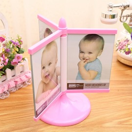 Cute Plastic Rotatable 6 Photos Children Room Decoration Table Photo Frame