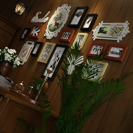 Classic European Style 13 Pieces Wooden Decorative Wall Photo Frames