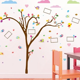 Brown 6 Photo Frames Tree with Colorful Leaves Eco-friendly and Waterproof Wall Stickers