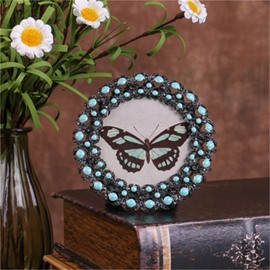 Retro and Pastoral Style Circle Zinc Alloy with Green Emeralds Table Decoration Photo Frame