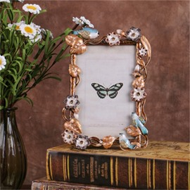 Retro and Pastoral Style Zinc Alloy with Birds and Flowers Wedding Gift Photo Frame