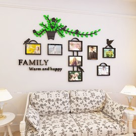 Pot Plant Pattern 3D Acrylic Family Photo Frame Waterproof Wall Sticker