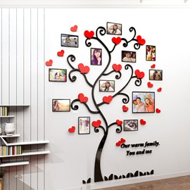 3D Acrylic Wall Stickers Photo Frames FamilyTree Wall Decal Easy to Install & Apply DIY Photo Gallery Frame Decor Sticker Home Art