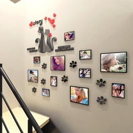 Cute Black Cat Pattern Family Photo Frame 3D Acrylic Wall Sticker