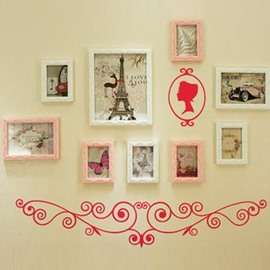 Wall Photo Frame Set with Rose Wall Stickers