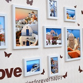 Wood Photo Frame Set with Butterflies Wall Stickers