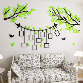 Green Tree and Birds 7 Photo Frames Acrylic Environmental 3D Wall Stickers