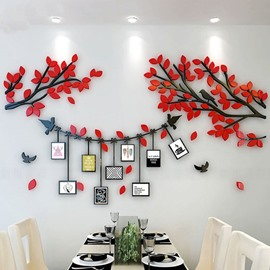 Red Tree and Birds 9 Photo Frames Acrylic Waterproof 3D Wall Stickers