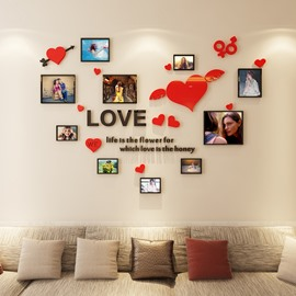 Love Heart And Letters Pattern Family Acrylic Photo Frame Wall Sticker