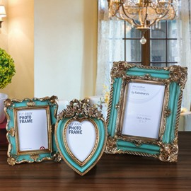 European Country Style 3 Pieces Flower Decoration Desktop Photo Frames