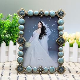 Elegant Blue Flowers and Artificial Diamonds Decoration Desktop Photo Frame
