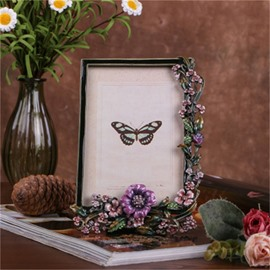 Retro and Pastoral Style Zinc Alloy with Purple Rattan Table Decoration Photo Frame