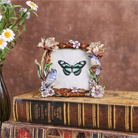 Retro and Pastoral Style Zinc Alloy with Birds and Flowers Table Decoration Photo Frame