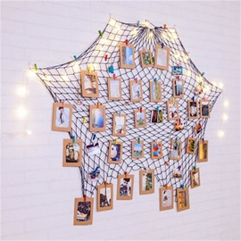 Modern Irregular Shape Fishing Net Twine and Paper Creative Wall Photo Framed
