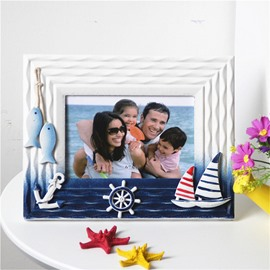 6 or 7 Inch Sailing and Seaside Wooden Desktop photo Frame