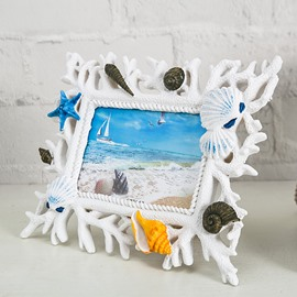 Vivid Marine Animals and Plants Resin White Desktop Photo Frame