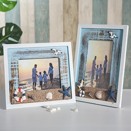 Mediterranean Style Density Board Photo Frames for Table Top Display