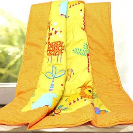 Bright Orange Animal Paradise Print Cotton Baby Quilt