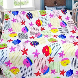 Flowers and Fishes Pattern Bright Color Baby Quilt