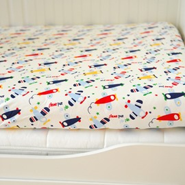 100% Cotton Planes Pattern Baby Crib Fitted Sheet