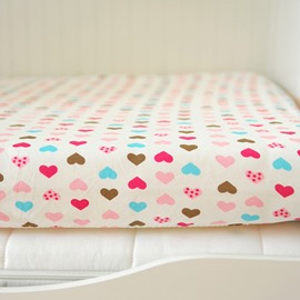 Colorful Heart Shape Pattern Baby Crib Fitted Sheet