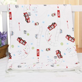 Vivid Fire Truck Pattern 100% Cotton Baby Crib Sheet