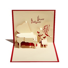 Creative Angel Playing Piano 3D Birthday Cards