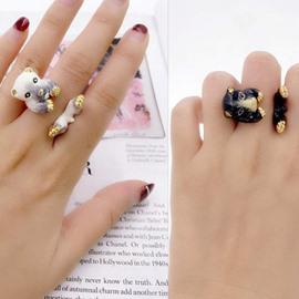 Cute Cartoon Bear Design Two Colors for Choose Enamel Ring