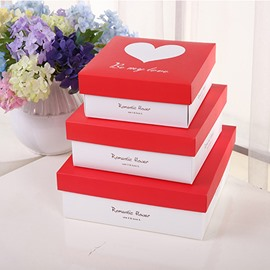 Heart-shaped 3 Size Square Paper Gift Box