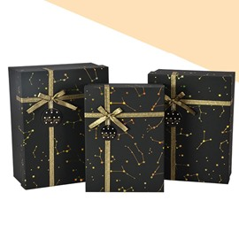 Mysterious Gold Constellation Bowknot 3-size Oblong Black Gift Box