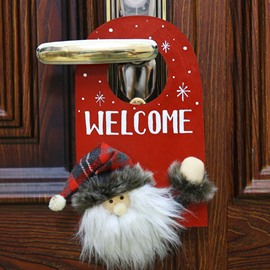 Deer Santa Pattern Door Decor for House Bar Christmas Decoration