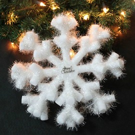White PVC Snowflake Shape 40cm Christmas Decoration