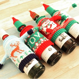 Fleece Red Wine Sweater Cover 2 PCS Christmas Decoration