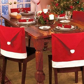 Set of 8 Santa Claus Hat Christmas Decoration Chair Covers