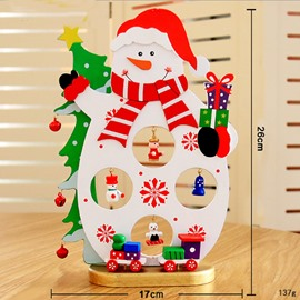 Wooden Santa Claus Snowman Crafts Desktop Christmas Decoration