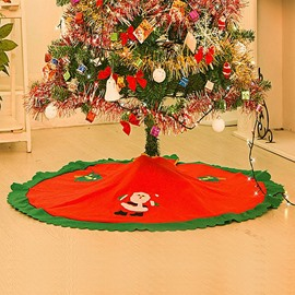 Lovely Festival Christmas Decoration Santa Claus Pattern ChristmasTree Skirt