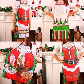 Christmas Santa Claus Character Digital Pattern Apron Festival Kitchen Cloth Decoration
