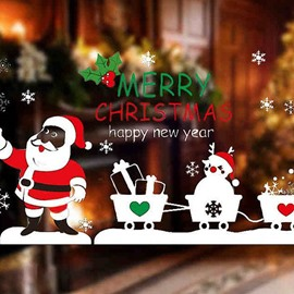 Festival Christmas Decoration Santa Claus Pull Vehicle Pattern Wall Sticker