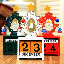 DIY Mini Calendar Wooden Desktop Christmas Decoration Gift
