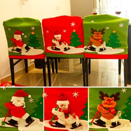 Ski Santa Deer 3D Pattern Christmas Decoration Chair Covers