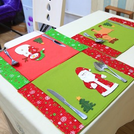 Set of 3 Ski Snowman Santa Christmas Holiday 3D Pattern Table Mat